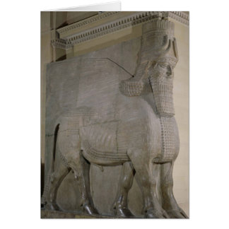 Winged bull at a facade of King Sargon II's Greeting Cards