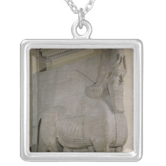 Winged bull at a facade of King Sargon II's Silver Plated Necklace