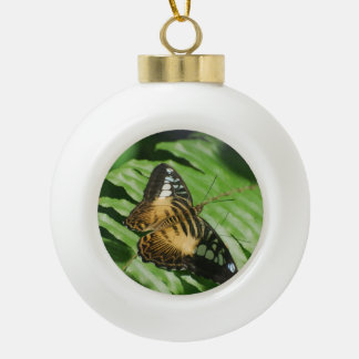 Winged Butterfly Ceramic Ball Christmas Ornament