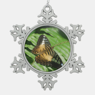 Winged Butterfly Snowflake Pewter Christmas Ornament