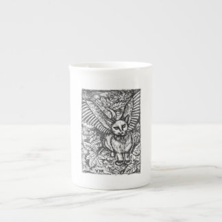 Winged Cat Drawing Bone China Cup