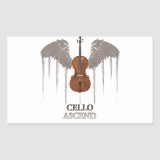 Winged Cello Ascend Design Rectangular Sticker