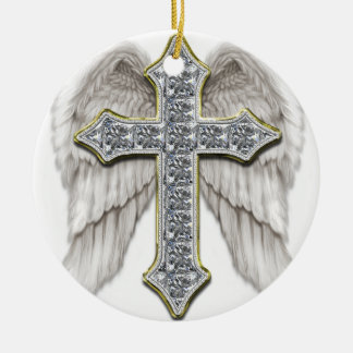 Winged Cross Ceramic Ornament
