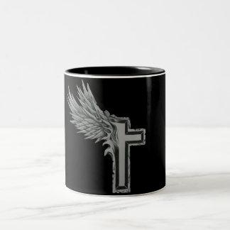 Winged Cross Tattoo Two-Tone Coffee Mug