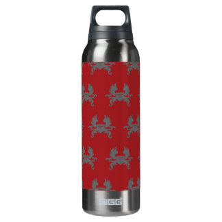Winged Crown Crest Grey Red Insulated Water Bottle