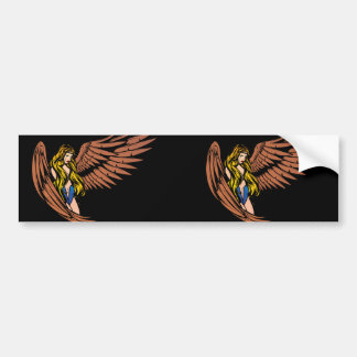 Winged Crying Girl Bumper Sticker