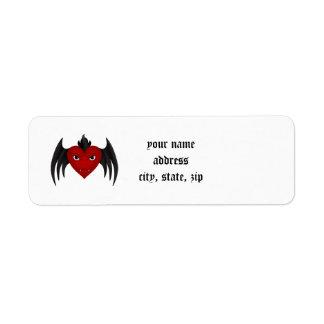 Winged cute gothic vampire heart return address label