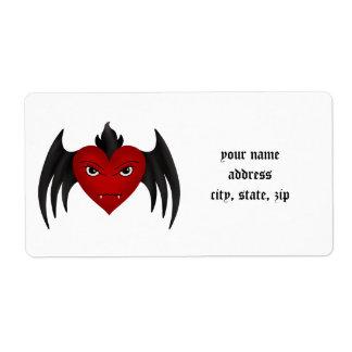 Winged cute gothic vampire heart custom shipping label