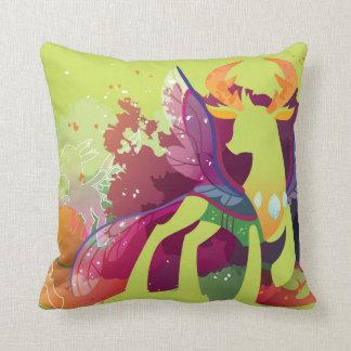 Winged deer throw pillow