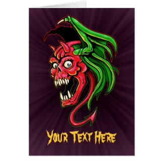 Winged Devil Skull Design Card