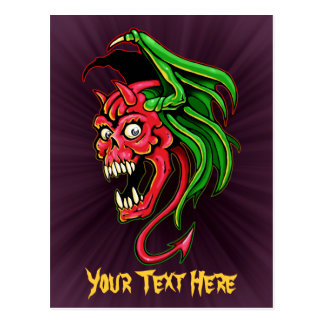 Winged Devil Skull Design Postcard