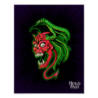 Winged Devil Skull design Poster