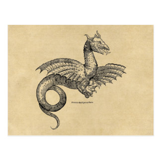 Winged Dragon Sepia Postcard