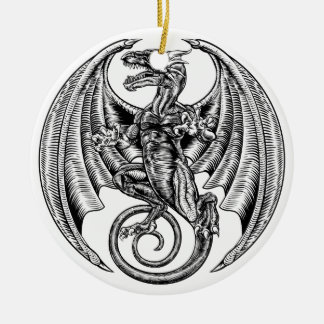 Winged Dragon Woodcut Ceramic Ornament