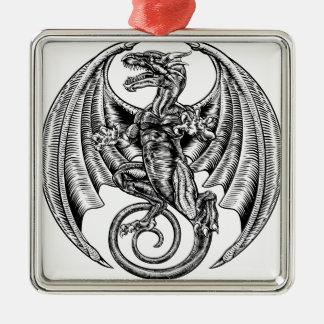 Winged Dragon Woodcut Metal Ornament