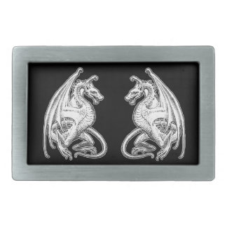 Winged Dragons Rectangular Belt Buckle