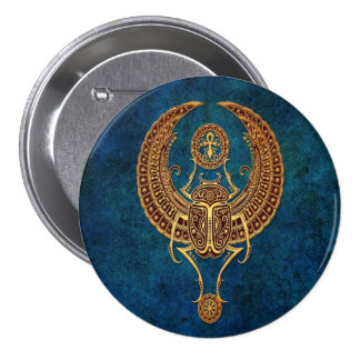 Winged Egyptian Scarab Beetle with Ankh - blue Pin