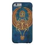 Winged Egyptian Scarab Beetle with Ankh - blue Barely There iPhone 6 Case