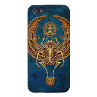 Winged Egyptian Scarab Beetle with Ankh - blue Case For iPhone SE/5/5s