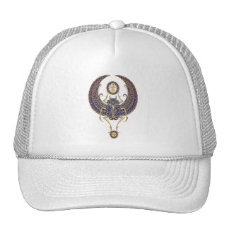 Winged Egyptian Scarab Beetle with Ankh - blue Trucker Hat