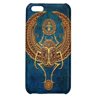 Winged Egyptian Scarab Beetle with Ankh - blue iPhone 5C Cover