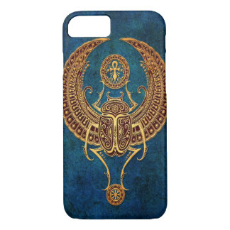 Winged Egyptian Scarab Beetle with Ankh - blue iPhone 7 Case
