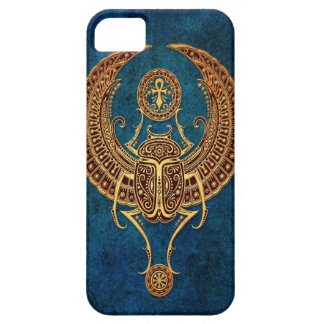 Winged Egyptian Scarab Beetle with Ankh - blue iPhone SE/5/5s Case