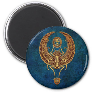 Winged Egyptian Scarab Beetle with Ankh - blue 2 Inch Round Magnet