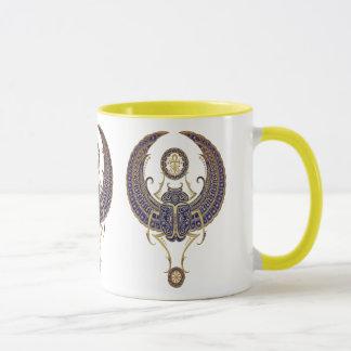 Winged Egyptian Scarab Beetle with Ankh - blue Mug