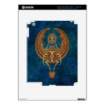 Winged Egyptian Scarab Beetle with Ankh - blue Skin For iPad 3