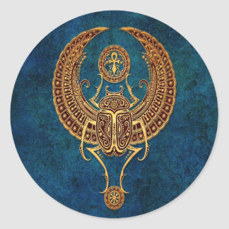 Winged Egyptian Scarab Beetle with Ankh - blue Classic Round Sticker
