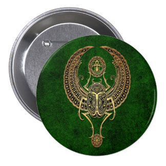 Winged Egyptian Scarab Beetle with Ankh - green Pin