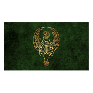 Winged Egyptian Scarab Beetle with Ankh on Green Business Cards