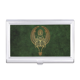 Winged Egyptian Scarab Beetle with Ankh on Green Case For Business Cards