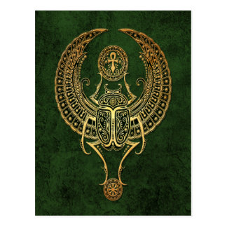 Winged Egyptian Scarab Beetle with Ankh on Green Postcard