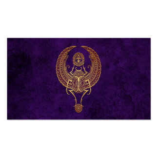 Winged Egyptian Scarab Beetle with Ankh on Purple Business Cards