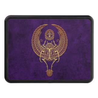 Winged Egyptian Scarab Beetle with Ankh on Purple Tow Hitch Cover