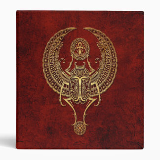 Winged Egyptian Scarab Beetle with Ankh on Red 3 Ring Binder