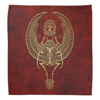 Winged Egyptian Scarab Beetle with Ankh on Red Bandana