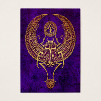 Winged Egyptian Scarab Beetle with Ankh - purple Business Card