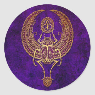 Winged Egyptian Scarab Beetle with Ankh - purple Classic Round Sticker