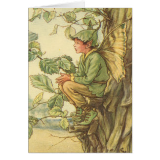 Winged Elm Fairy Sitting in a Tree Card