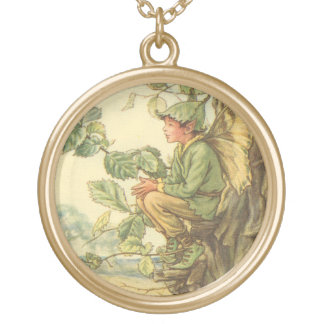 Winged Elm Fairy Sitting in a Tree Gold Plated Necklace