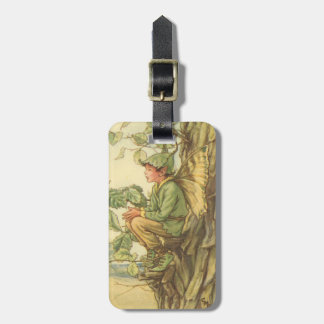 Winged Elm Fairy Sitting in a Tree Luggage Tag