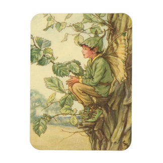 Winged Elm Fairy Sitting in a Tree Rectangular Photo Magnet