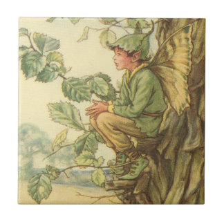 Winged Elm Fairy Sitting in a Tree Tile