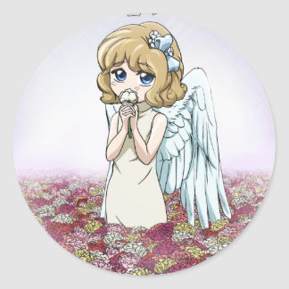 Winged fairy at home classic round sticker