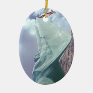 Winged Figure of the Republic Double-Sided Oval Ceramic Christmas Ornament