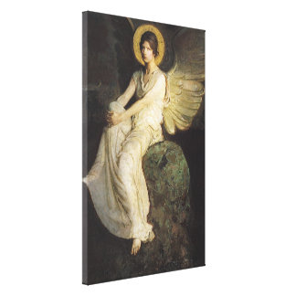 Winged Figure Seated Upon a Rock by Abbott Thayer Canvas Print