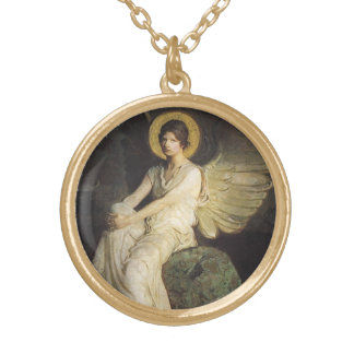 Winged Figure Seated Upon a Rock by Abbott Thayer Gold Plated Necklace